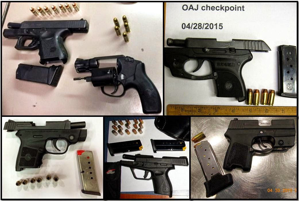 Clockwise from top left, these firearms were discovered in carry-on bags at BNA, OAJ, STL, ECP, and ATL.
