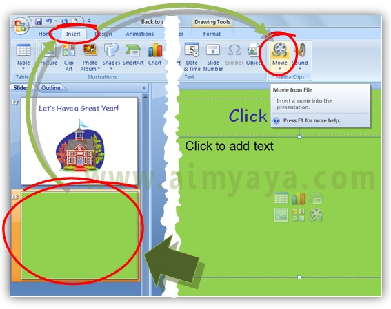 Gambar:  Cara Menambah video klip ke slide presentasi microsoft powerpoint melalui ribbon Insert