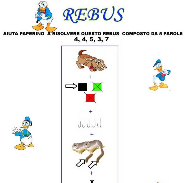Giochi e disegni da colorare rebus per bambini e per for Rebus facili da stampare