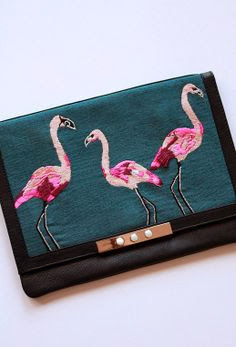 Lizzie Fortunado flamingo embroidered clutch