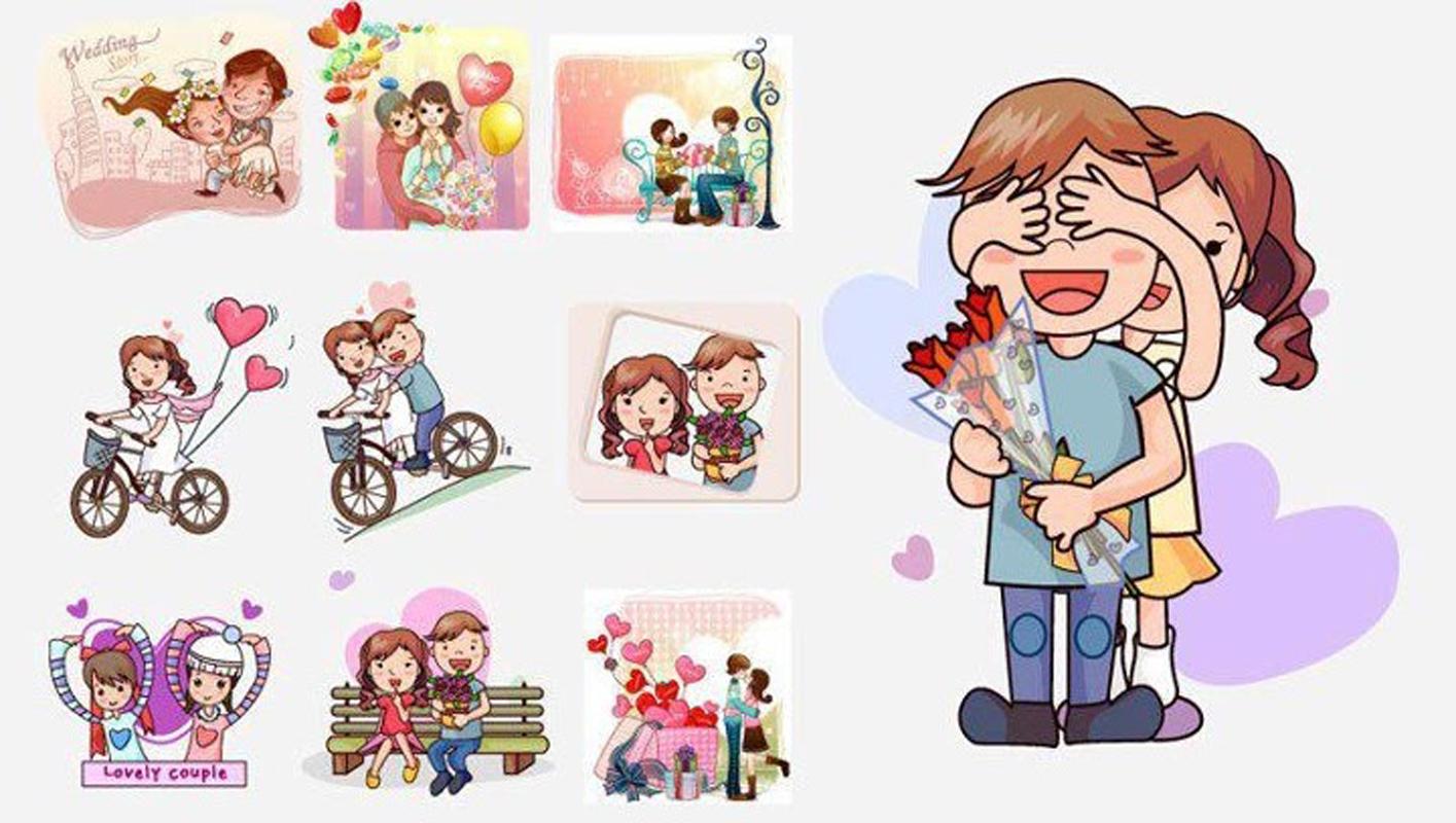 愛するカップルのイラスト Cartoon cute couple pattern イラスト素材