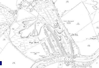 Map snip of Page Bank and surrounds from the 1940s showing the extent of the village