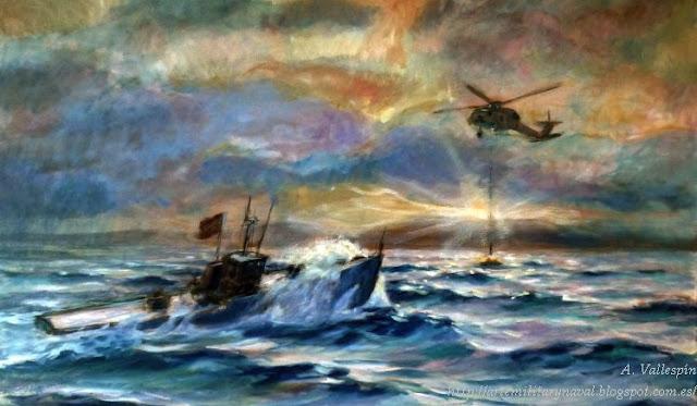 Pintura al óleo de un rescate en el mar