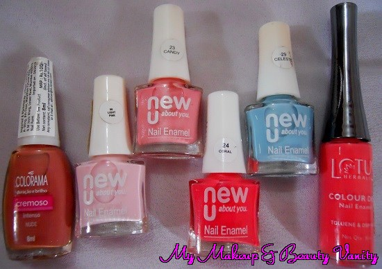 a colorful haul+maybelline+new U+pastel nail polishes+lotus+nail polishes+nude nail polish