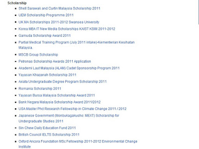 Malaysia scholarship 2011 list