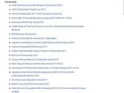Malaysia scholarship 2011 list