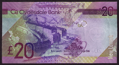 Clydesdale Bank currency 20 Pounds Sterling bill