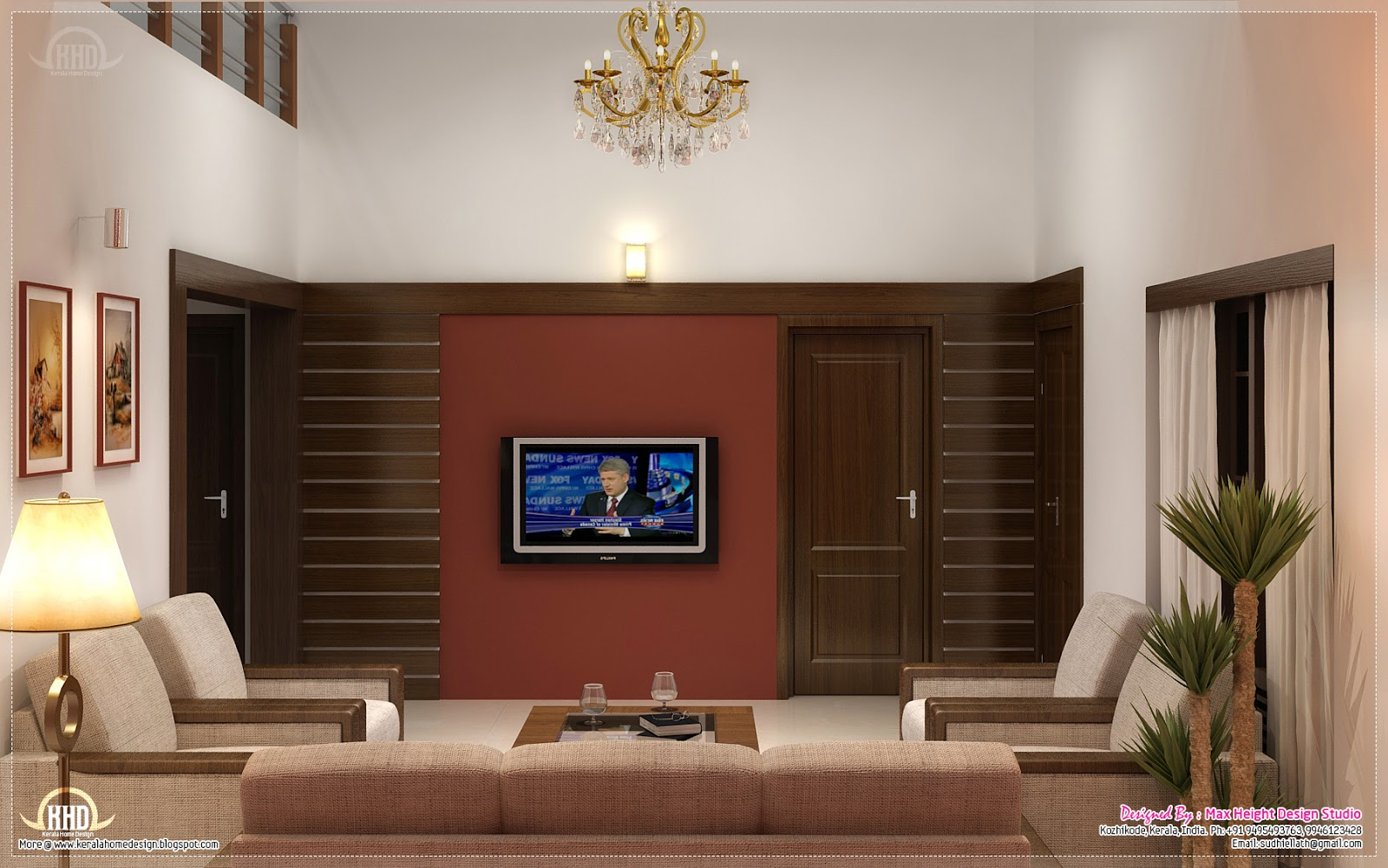 22 new kerala home design interior living room for Kerala house living room interior design