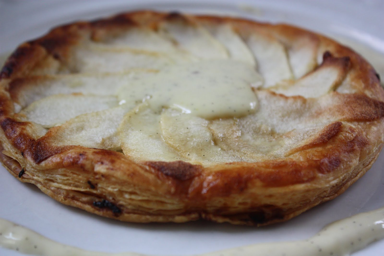 Apple and Goat Geese Galette with Honey-Vanilla Sauce