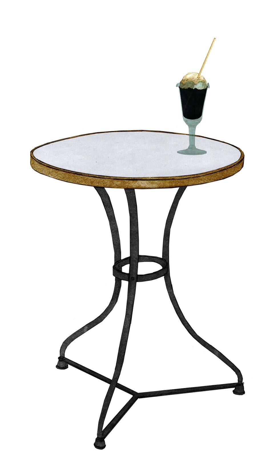 mesita de bar, marmol y patas de hierro, copa de helado nacional