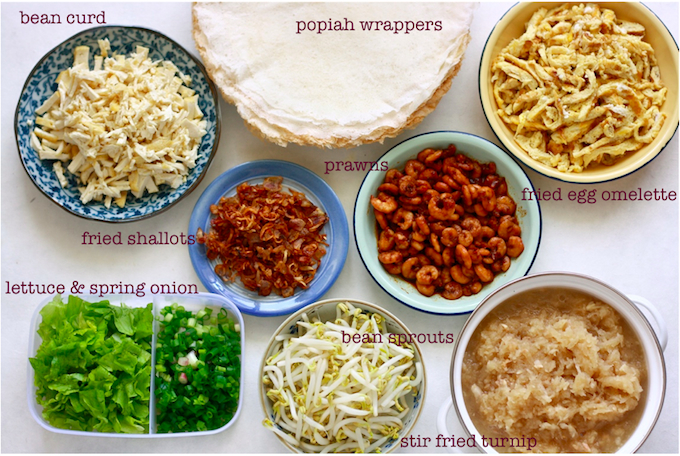 ingredients for making homemade popiah spring rolls