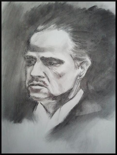 El Padrino. Retrato a carboncillo. Autor José M. Gallego.