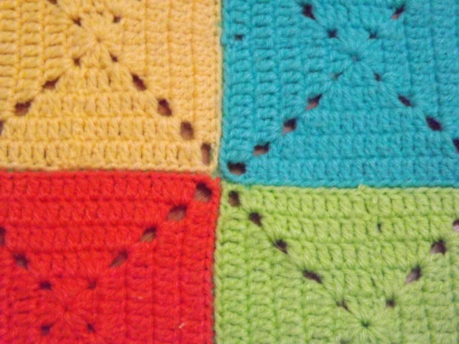 tejido a crochet manta cuadros
