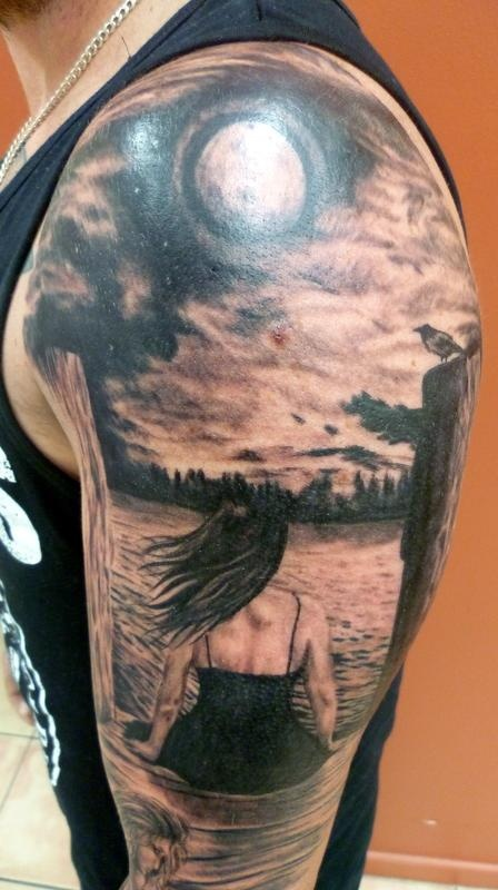 3D fantasy tattoo on whole hand and arm