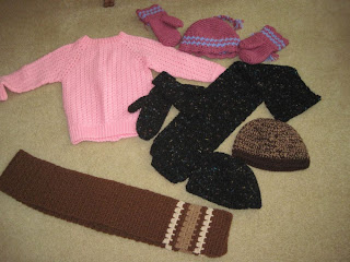 hats, scarves, mittens, sweater for homeless