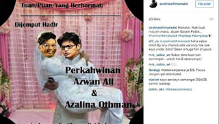'Undangan kahwin' dengan Azwan Ali: Azalina tetap `steady'