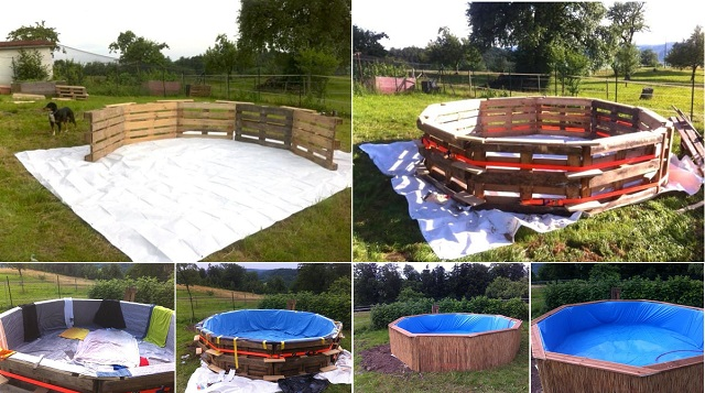 Make a beautiful swimming pool with 10 old pallets and 80 for What to do with old swimming pool