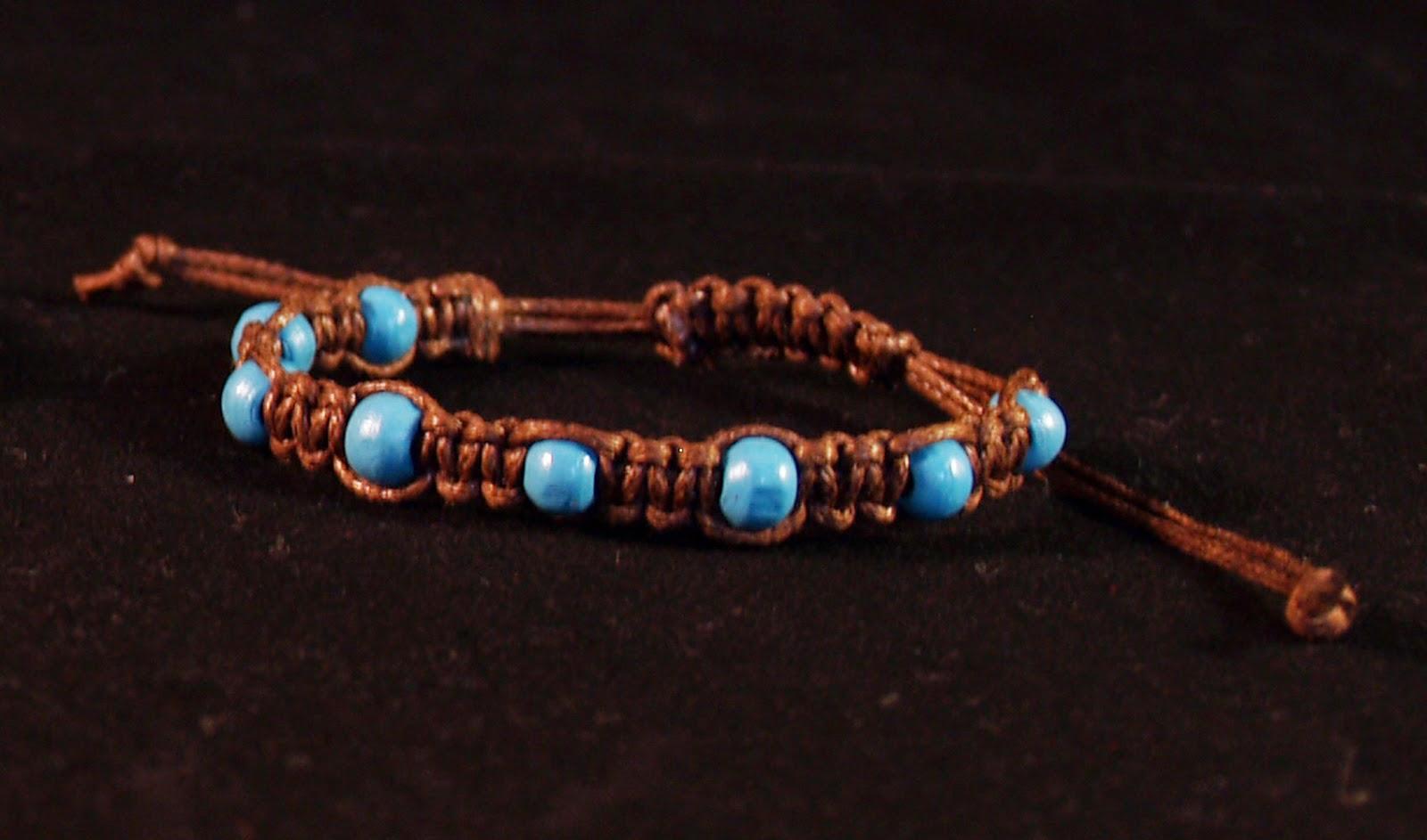macrame bracelet brown-turquoise