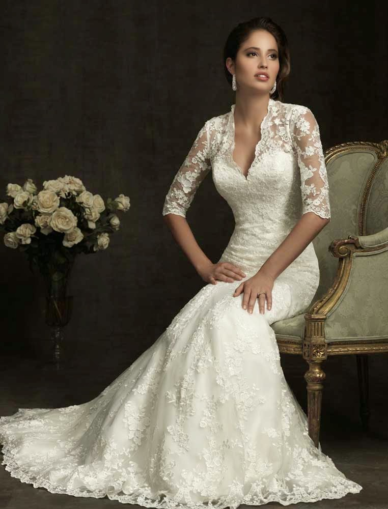 Allure Wedding Dresses Long Trains Fit and Flare Design pictures hd