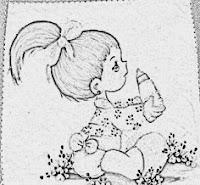 risco menina com mamadeira