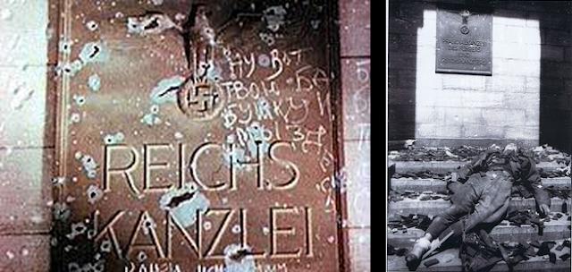 Le Führerbunker, traduit l'« abri du Führer », est le nom usuel employé pour désigner un complexe de salles souterraines de Berlin (Allemagne) où Adolf Hitler s'est suicidé lors de la Seconde Guerre mondiale. Ce bunker a été le treizième et dernier des Führerhauptquartiere (Quartier-général du Führer)2.  Il y avait en réalité deux bunkers reliés entre eux : le Vorbunker (« pré-bunker ») était le plus ancien, et le Führerbunker le plus récent. Le Führerbunker était situé à environ 8,2 mètres sous le jardin de la Neue Reichskanzlei (nouvelle Chancellerie du Reich), au 77 Wilhelmstraße, aujourd'hui à environ 120 mètres au nord de la nouvelle Chancellerie, à l'ancienne 6 Voßstraße. Le Vorbunker était situé en dessous du grand hall derrière la vieille Chancellerie, qui était reliée à la nouvelle Chancellerie. Le Führerbunker était situé un peu plus bas que le Vorbunker et un peu plus à l'ouest (ou ouest/sud-ouest). Les deux bunkers étaient reliés entre eux par des escaliers à angle droit (et non en spirale, comme le croient certains).  Le complexe était protégé par une couche de béton d'environ quatre mètres d'épaisseur. Il comprenait environ trente petites pièces sur deux niveaux. Il possédait des sorties menant aux bâtiments principaux et une sortie d'urgence donnant sur le jardin. Les bunkers furent construits en deux phases, l'une en 1936 et l'autre en 1943. Les ajouts de 1943 furent réalisés par l'entreprise Hochtief et firent partie d'un grand plan de construction souterraine berlinoise commencé en 1940. Les pièces occupées par Hitler se trouvaient dans la nouvelle section, plus profonde, et en février 1945 elles étaient garnies de meubles luxueux pillés ou récupérés à la Chancellerie, ainsi que de plusieurs œuvres d'art.  Sommaire      1 Historique         1.1 L'année 1945             1.1.1 Avril             1.1.2 Mai         1.2 Depuis la guerre     2 Notes et références     3 Bibliographie     4 Filmographie     5 Documentaires     6 Voir aussi     7 Articles co