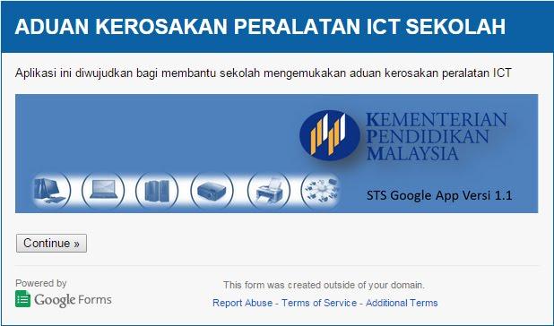 LAPORAN KEROSAKKAN PERALATAN ICT