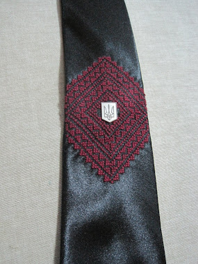 Embroidered tie - with tryzub pin