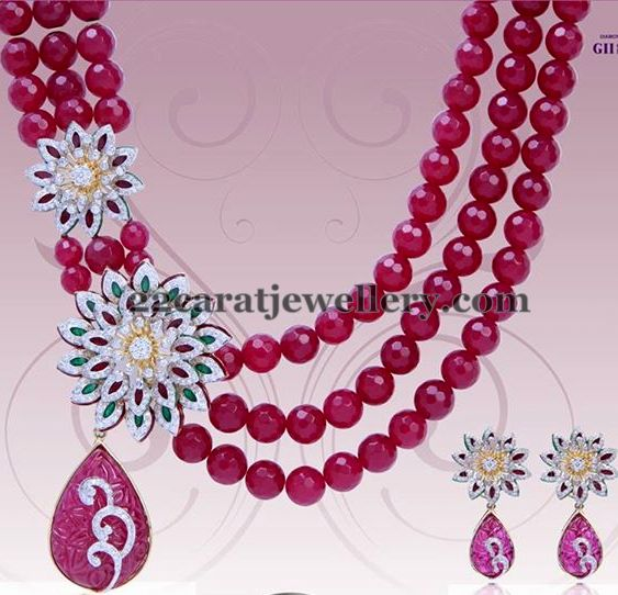 Ruby Layers Set with Diamond Motifs
