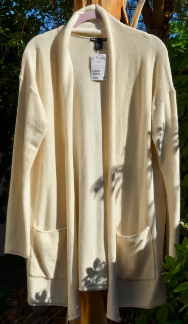 Long cardigan, looks yellow but is really an oatmeal color