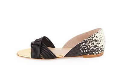 Loeffler Randall open toe flats with criscross straps