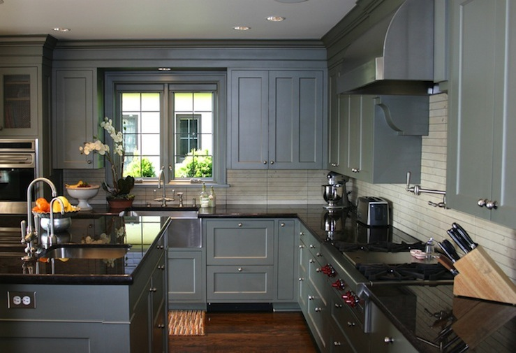 Grey kitchen wood floor on pinterest gray kitchens grey for Dark gray kitchen cabinets