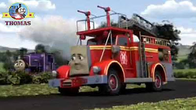 Number 14 Charlie the tank engine chuffed by hello Sodor fire station truck Flynn the train engine