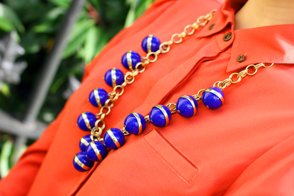 J Crew Blue Ball Necklace