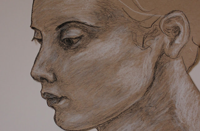 face, head, woman, charcoal, conte, cut, paper, Sarah, Myers, eyes, mouth, ear, hair, sketch, drawing, art, dibujo, arte, study, portrait, tan, brown, bristol, figurative, human, realistic, artwork, shading, detail, close-up, new