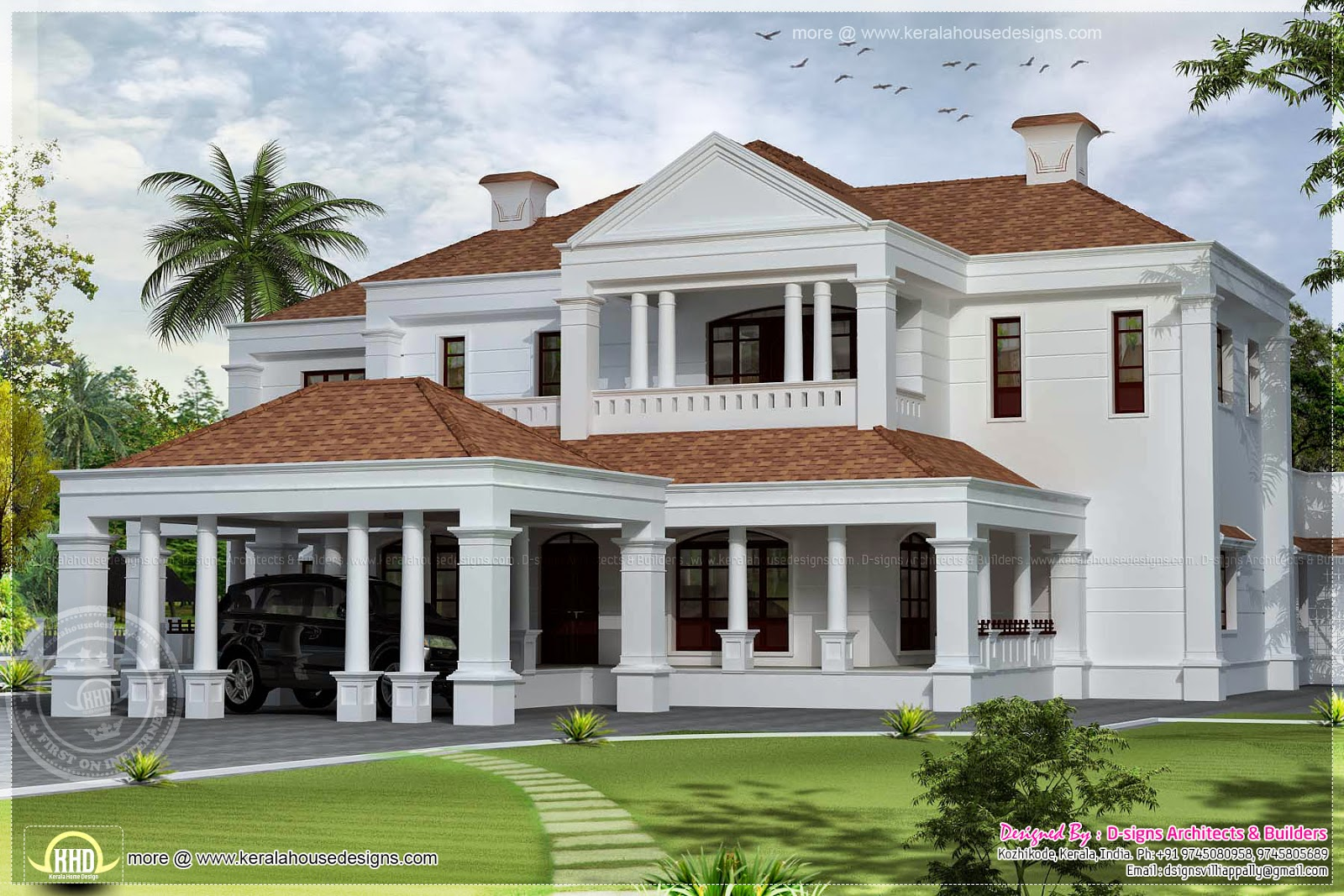 5900 sq ft colonial style villa exterior elevation home for Colonial style home design in kerala