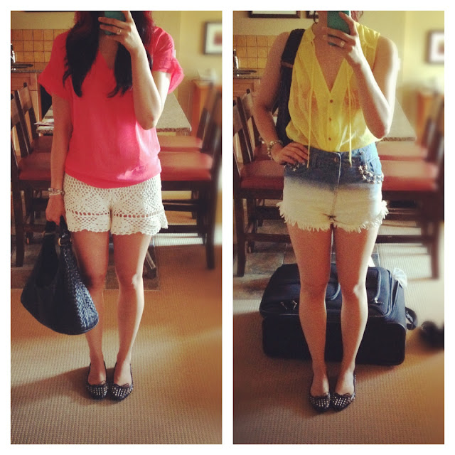 Outfits, bright shirt and lace shorts and Bottega purse, Designer purse, yellow shirt and high waisted short shorts with start studs, street style, fashion, style
