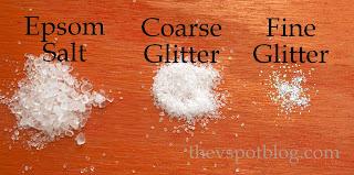 epsom salt, glitter