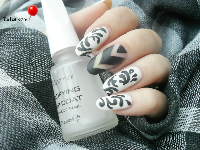 Chevron nails sau wannabe manichiura chevron black and white nails