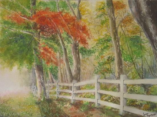Mystic Woods, painting by Lasya Upadhyaya (part of her portfolio on www.indiaart.com)