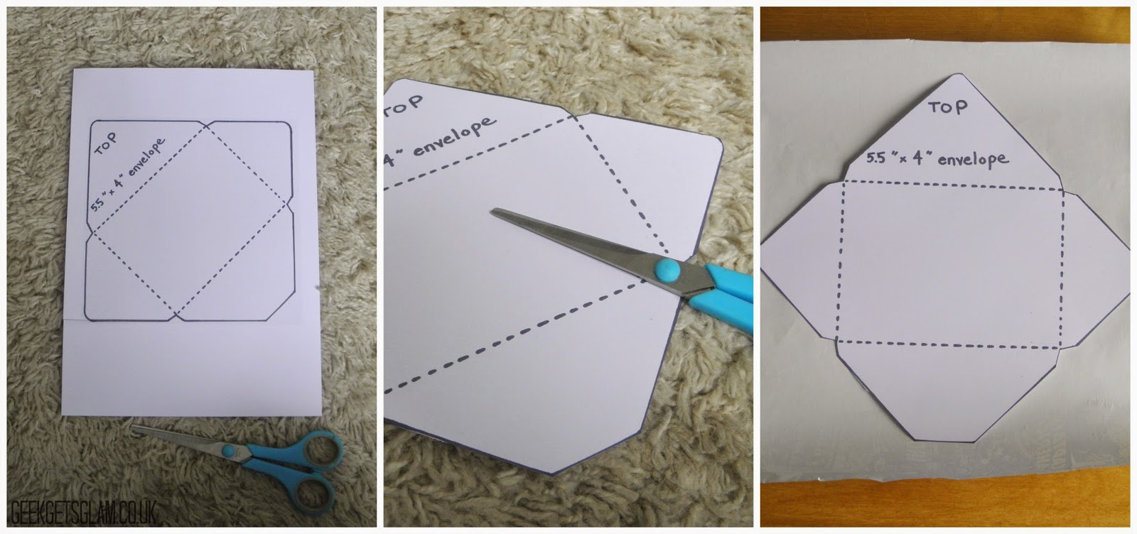 DIY Make Your Own Envelopes GEEK GETS GLAM - Make your own envelope template
