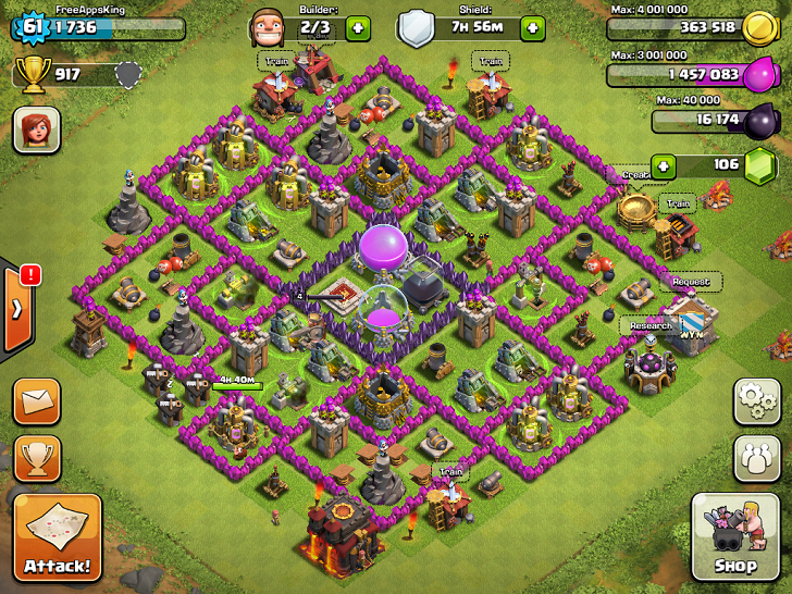 FreeAppsKing - Clash Of Clans Village - Level 61 - Clash Of Clans Guide - FreeApps.ws
