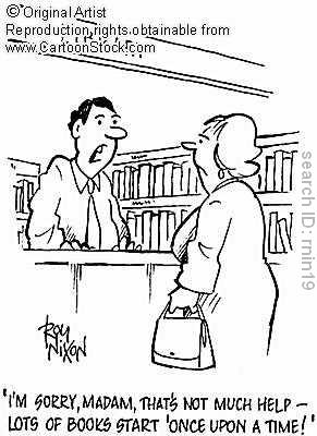 Woman at bookstore cartoon