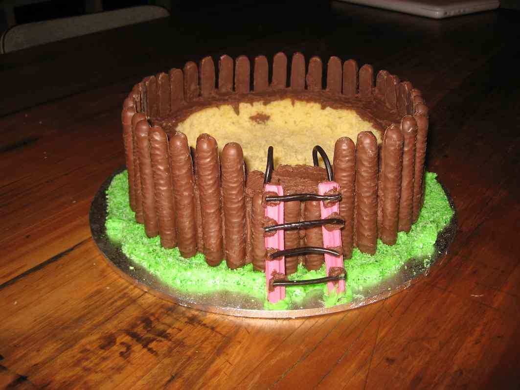 Dark Cloud Blue Sky Swimming Pool Birthday Cake