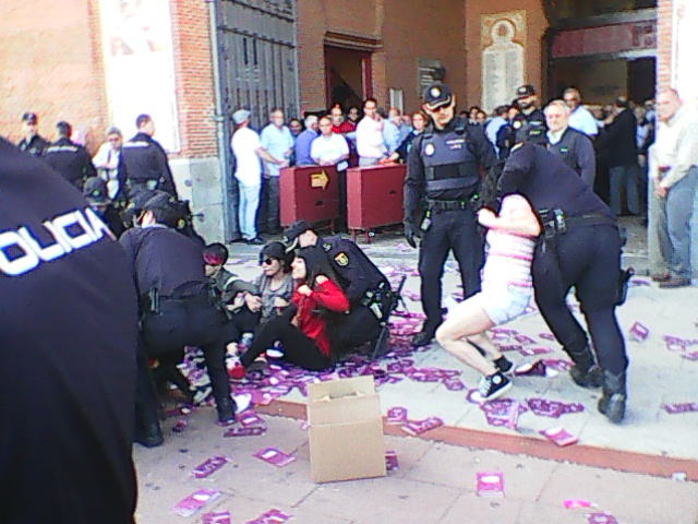 CUPS   IN  MADRID DURING  THE  TIME  WERE  THEY  SENDING  AWAY  PROTESTORS  AGAINST  BULLFIGHT