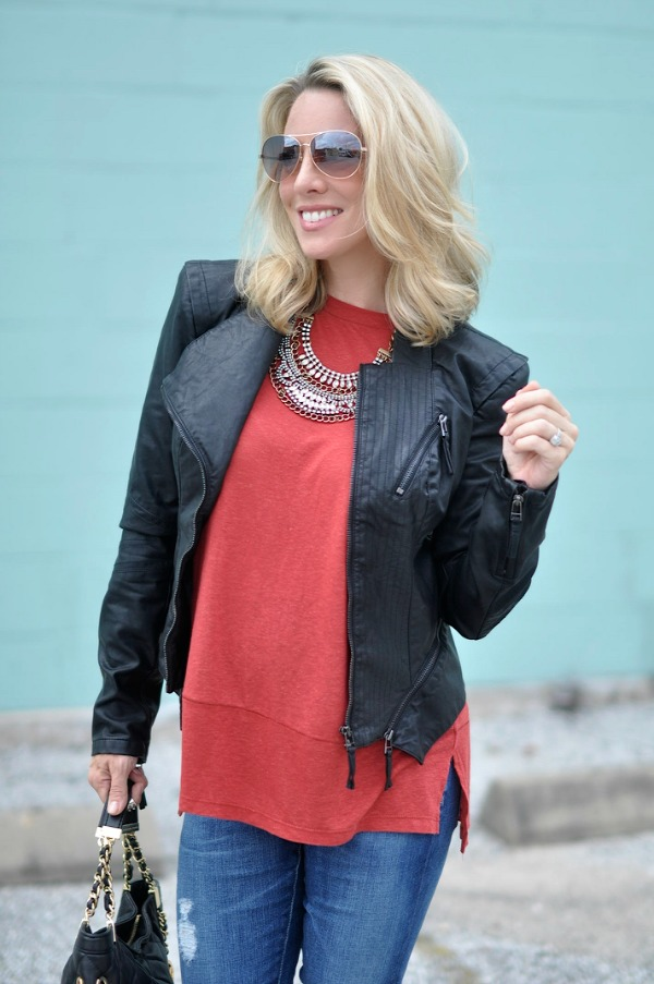 Fall/winter fashion - BLANKNYC faux leather jacket under $100 - Free People Tee dressed up with a statement necklace