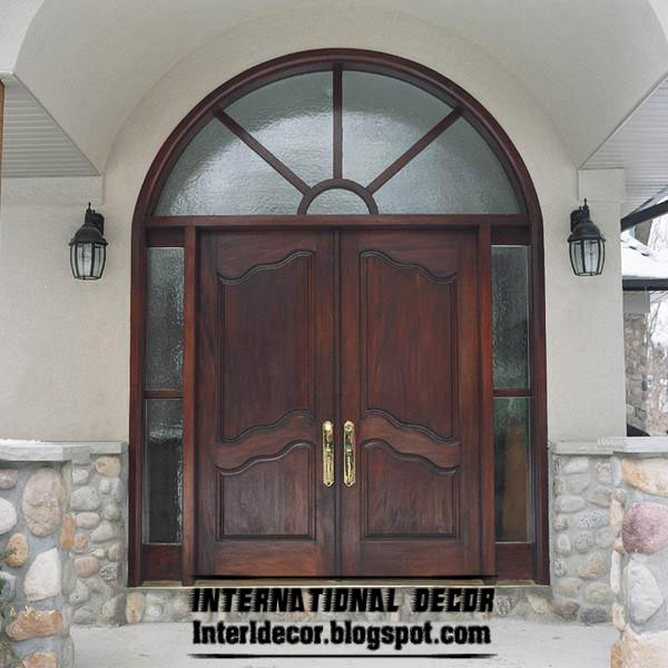 Classic Designs, Colors Of Wood Doors With Glass:
