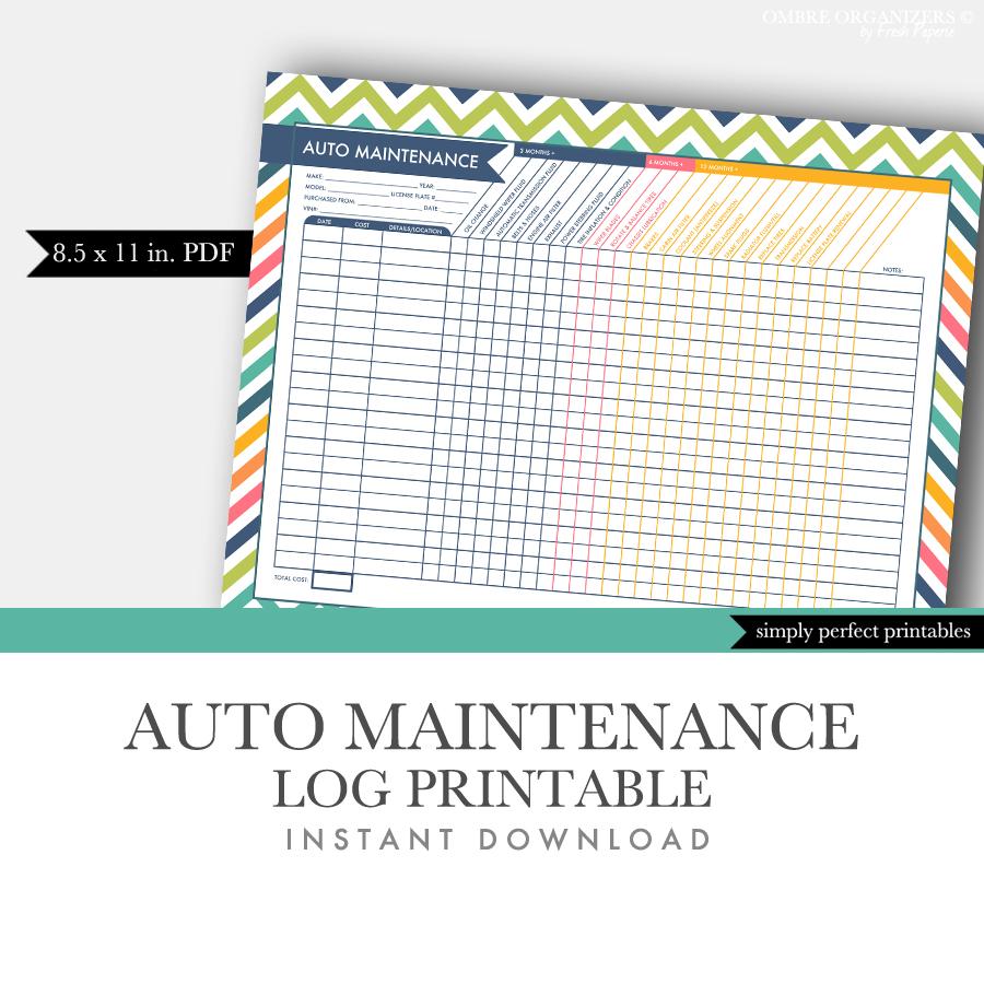 It's just an image of Priceless Car Maintenance Log Printable