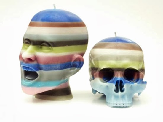 Safari Fusion blog | It's all in your head | Striped Scream Head and Skull Candles by Sobeit Studio South Africa
