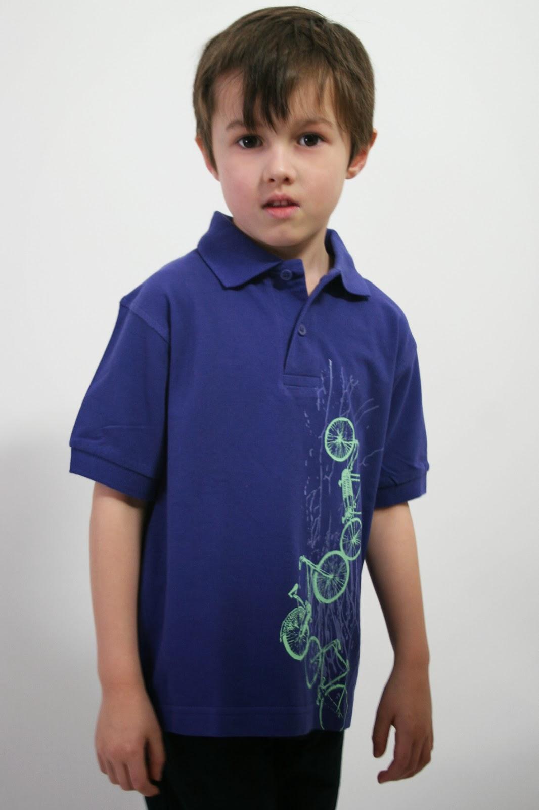 Poloshirt für Kinder mit zweifarbigen Fahrräderdruck