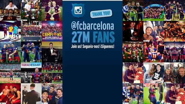 Tres años del FC Barcelona en Instagram